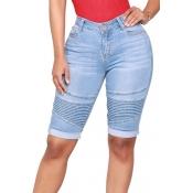 Lovely Trendy High Waist Light Blue Denim Shorts