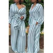 LovelyEuramerican Striped Blue  Loose  Two-piece Pants Set