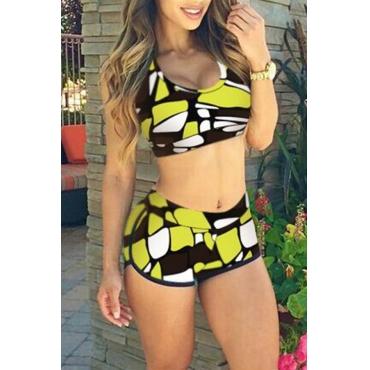 Lovely U Neck Color Block Green Polyester Two-piece Swimwears