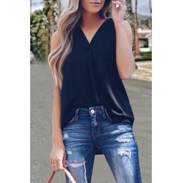 Lovely Work V Neck Irregular Black Blending Shirts