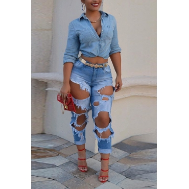 LovelyTrendy High Waist Broken Holes Blue Denim Pants (Without Belt)