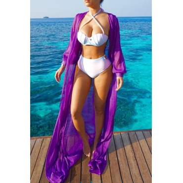 Lovely Purple Chiffon Solid Cover-Ups