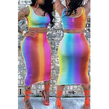 LovelyFashion U Neck Printing Polyester Two-piece Skirt Set
