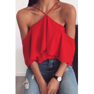 Lovely Casual Dew Shoulder Flounce Red Shirts