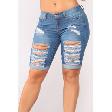 Lovely Casual Mid Waist Broken Holes Deep Blue Denim Zipped Shorts