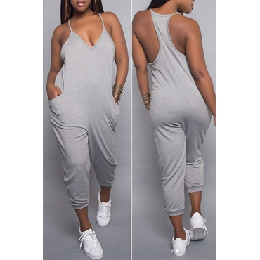 Lovely Casual Fashion V Neck Pocket Design Grey One-piece Jumpsuits