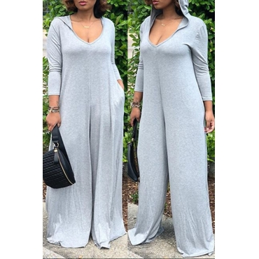 Lovely Casual Hooded Collar Light Grey Knitting One-piece Jumpsuits