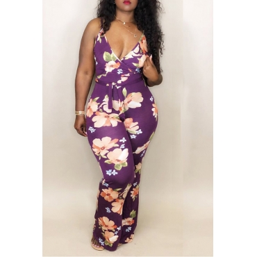 Lovely Bohemian V Neck Floral Printed Purple Spandex One-piece Jumpsuits