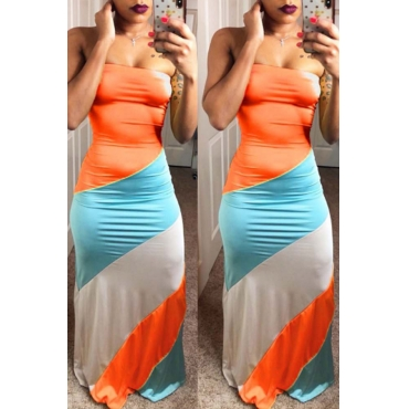 Lovely Fashion Bateau Neck Patchwork Orange Polyester Floor Length Dress