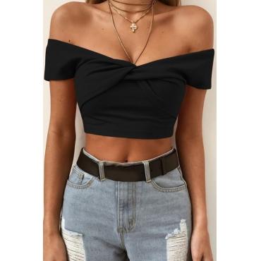 Lovely Sweet V Neck Crossed Design Black Cotton Blends  T-shirt