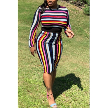 Lovely Trendy Long Sleeves Striped Two-piece Skirt Set