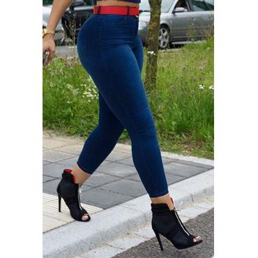 LovelyFashion High Waist Deep Blue Denim Zipped Jeans