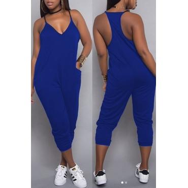 Lovely Casual Fashion V Neck Pocket Design Blue One-piece Jumpsuits