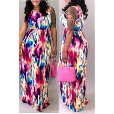 Lovely Trendy Tank Sleeveless Printed Floor Length Dress