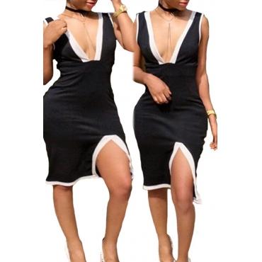Lovely Casual V Neck Patchwork Cotton Blends Knee Length Dress