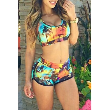 Lovely Green Printed Two-piece Swimwear