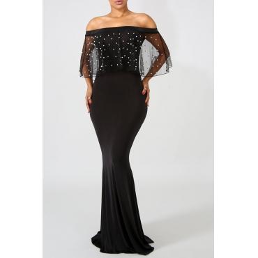 Lovely Charismatic Dew Shoulder Gauze Patchwork Black Floor Length Dress
