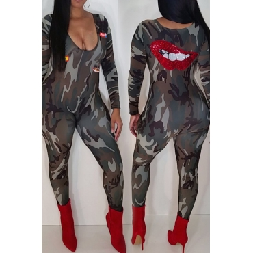 Lovely Casual Camouflage Printed Blending One-piece Jumpsuits