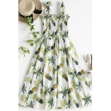 Lovely Trendy Printed White Cotton Knee Length Dress