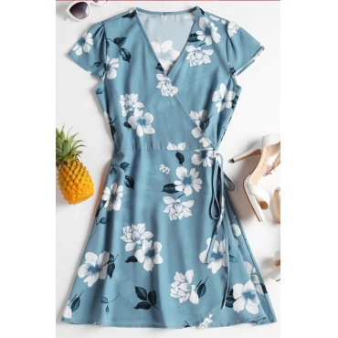 Lovely Euramerican V Neck Printed Light Blue Mini Dress