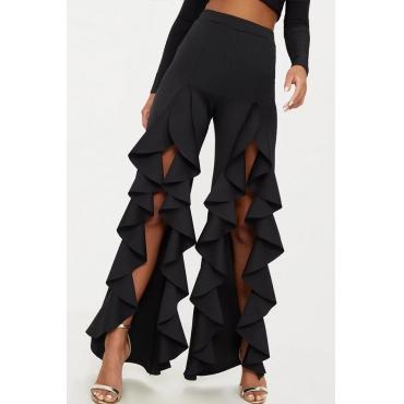 Lovely Trendy High Waist Asymmetrical Black Pants