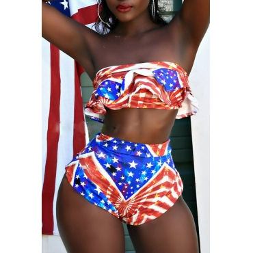 Lovely Euramerican Printed Red+Blue Two-piece Swimwear
