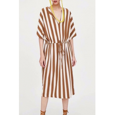 Lovely Casual V Neck Yellow-white Striped Cotton Mid Calf Dress