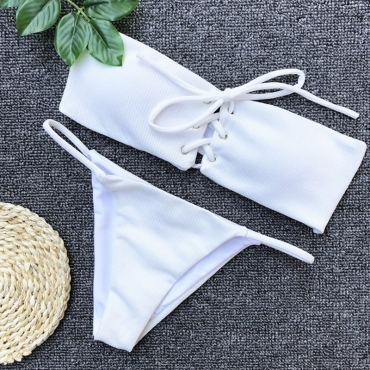 Lovely White Lace-up Two-piece Swimwear