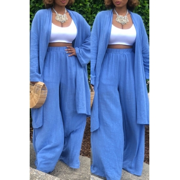 LovelyCasual Loose  Blue Linen Two-piece Pants Set