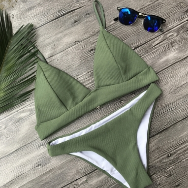 Lovely Army Green Two-piece Swimwear