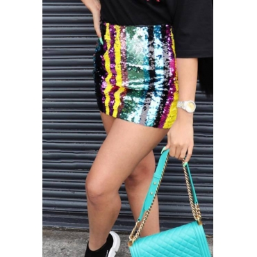 LovelySexy Sequins Striped Polyester Mini Skirts