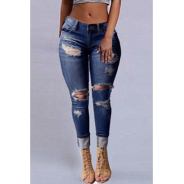 Lovelystylish Cintura Alta Agujeros Rotos Jeans Azul Oscuro De Mezclilla