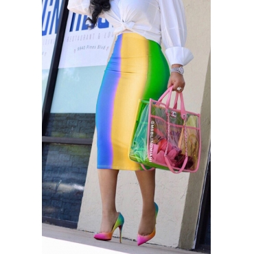 Lovely Sexy Rainbow Printed Blue Mid Calf Skirts