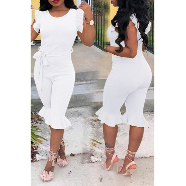 Lovely Trendy Flounce White One-piece Romper