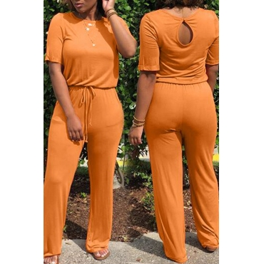 Lovely Euramerican Lace-up Orange One-piece Jumpsuit