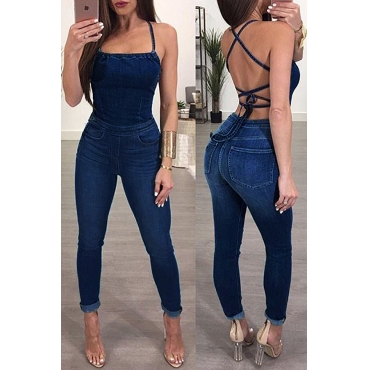 Lovely Sexy Backless Blue Denim One-piece Jumpsuits