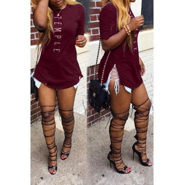 Lovely Leisure Printed Wine Red T-shirt