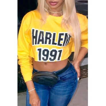 Lovely Leisure Letters Printed Yellow Blouses