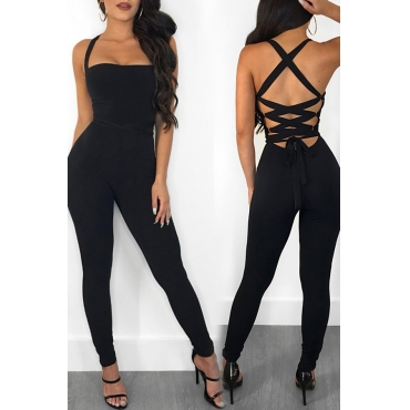 Lovely Sexy Backless Crossed Design Black One-piece Jumpsuits