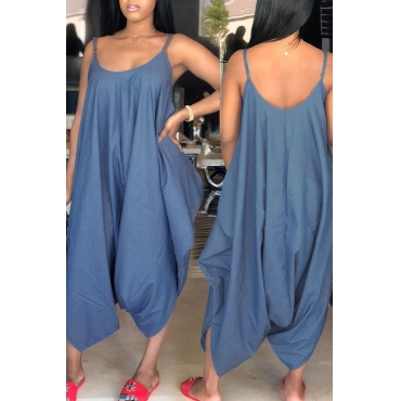 Lovely Casual Plus Size Blue Denim One-piece Jumpsuits