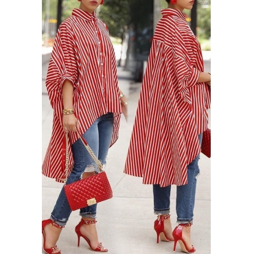 Lovely Casual Striped Asymmetrical Red Blending  Blouses