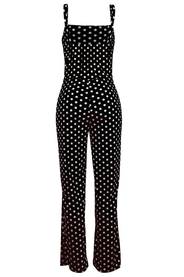 LovelyFashion Dots printed Black One-piece Jumpsuit