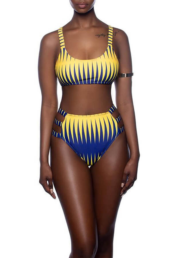 Lovely Euramerican Printed Yellow Two-piece Swimwear((No-positioning Printing))