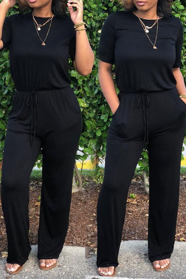 lovelywholesale / Lovely Euramerican  Lace-up Black One-piece Jumpsuit