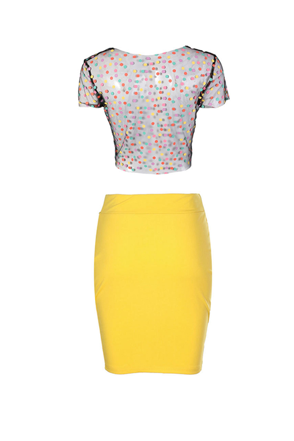 Lovely Sexy See-Through   Dot Printed  Yellow Two-piece Skirts Set  ( Hot Stamping Process)