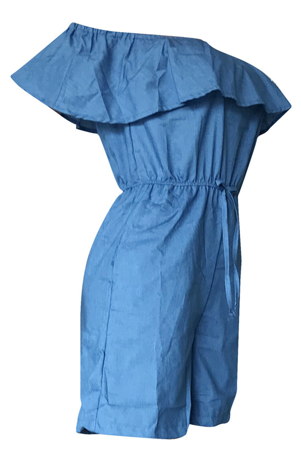 Lovely Casual Flounce Blue Denim One-piece Rompers