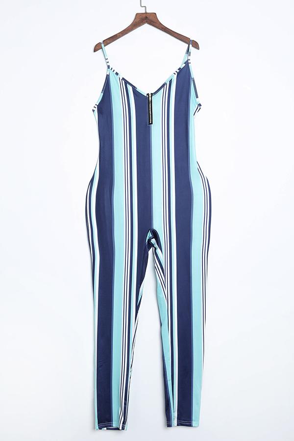 LovelyEuramerican V Neck Zipper Design Light Blue One-piece Jumpsuit