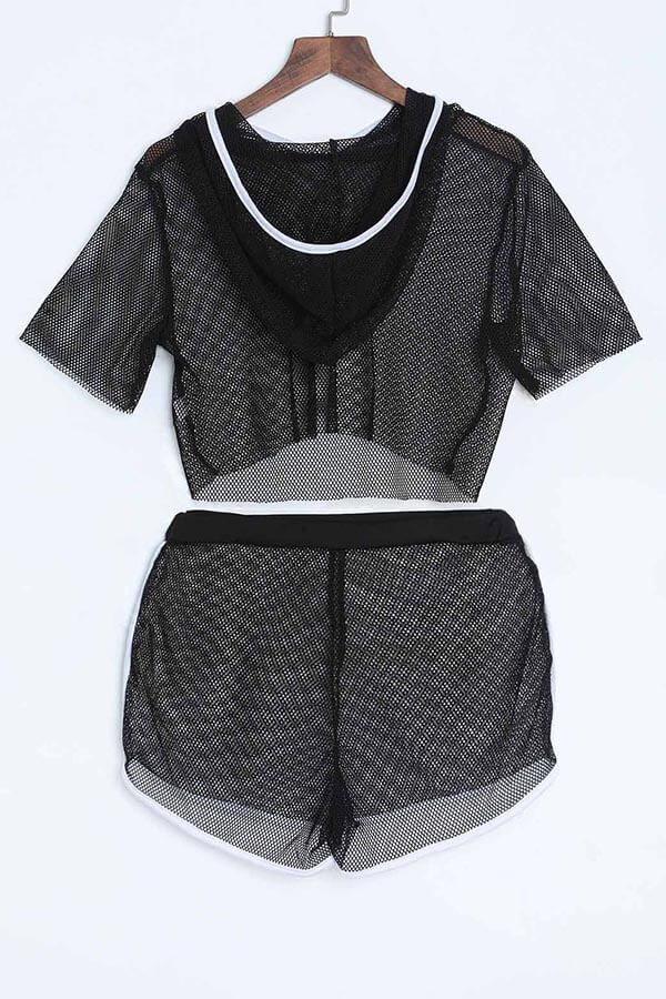 Lovely Sexy See-Through Black Gauze Two-piece Shorts Set