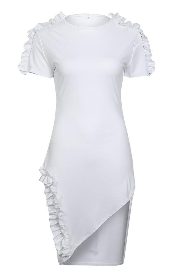 Lovely Leisure    Falbala Design   White   Mini Dress