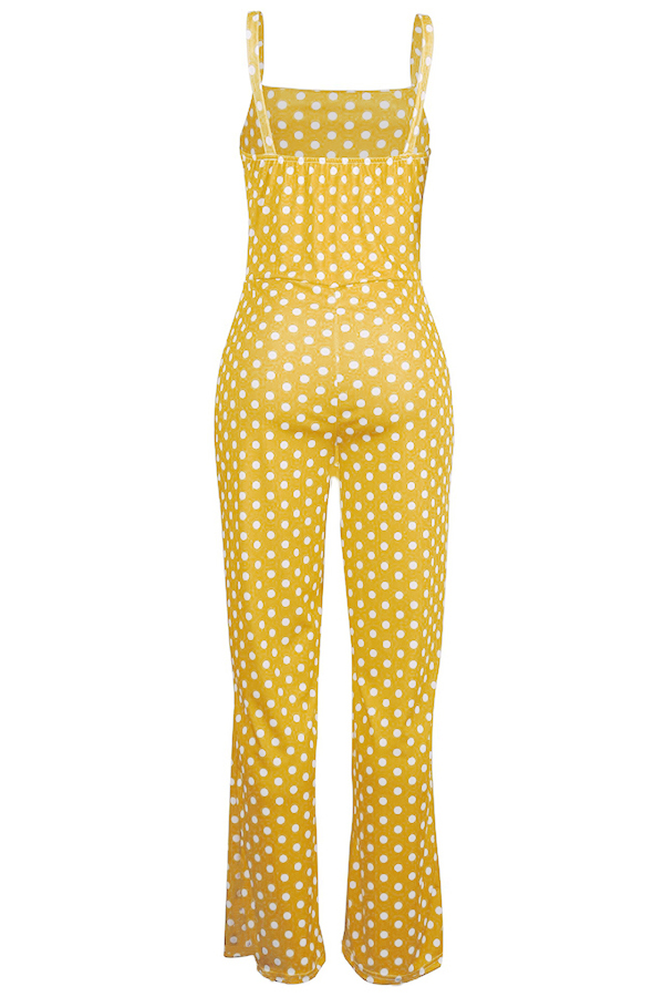 Lovely Casual Dots Printed Yellow One-piece Jumpsuits